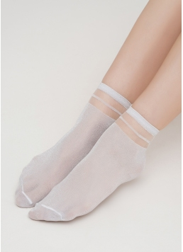 Жіночі шкарпетки з люрексом WS2 CRISTAL LUREX PA 001 (білий)
