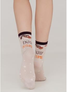Жіночі шкарпетки с написом сзаду та малюнками WS3 AUTUMN 002 moonlight (бежевий)