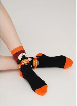 Шкарпетки жіночі з гарбузами WS3 HALLOWEEN 005 black (чорний)