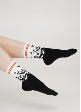 Високі шкарпетки з малюнком кажанів WS3 HALLOWEEN STRONG 002 black (чорний) Giulia