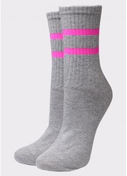 Жіночі високі шкарпетки WS3 SOFT NEON 002 light grey melange/rose (меланж)