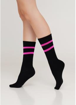 Жіночі високі шкарпетки з неоновими смужками WS4 SOFT NEON 002 (чорний/рожевий)