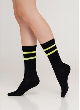 Жіночі високі шкарпетки з неоновими смужками WS4 SOFT NEON 002 (чорний/жовтий)