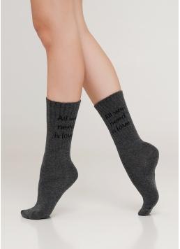 Жіночі високі шкарпетки з написом WS4 STRONG 018 (M) [WS4M-018] (темно-сірий)