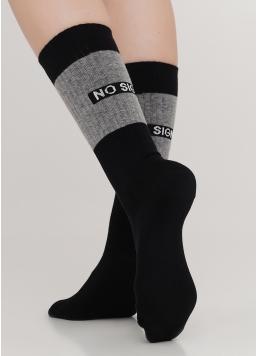 Високі жіночі шкарпетки з контрастним написом ззаду WS4 TEXT STRONG 003 (чорний)