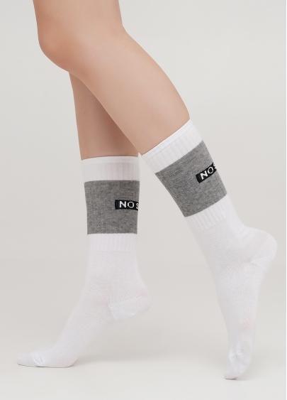 Високі жіночі шкарпетки з контрастним написом ззаду WS4 TEXT STRONG 003 (білий)