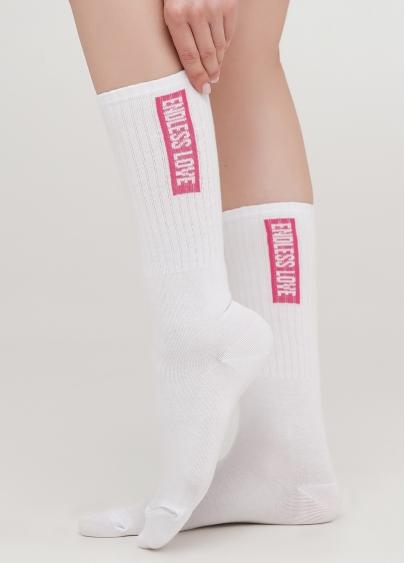 Високі шкарпетки з написом по бокам WS4 TEXT STRONG 010 (білий/фуксія)