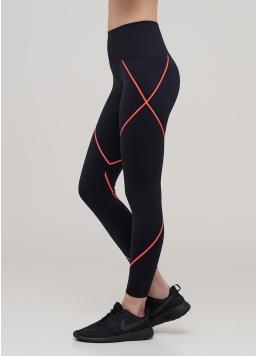 Безшовні спортивні легінси LEGGINGS NEON STRIPE (чорний/помаранчевий)