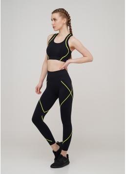 Безшовні спортивні легінси LEGGINGS NEON STRIPE (чорний/жовтий) Giulia