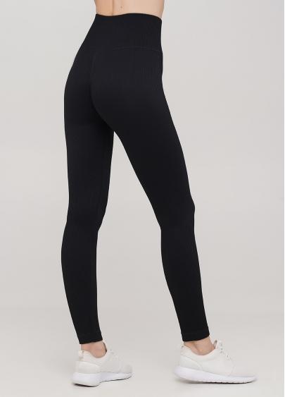 Легінси в рубчик з моделюючим швом ззаду LEGGINGS RIB (чорний)