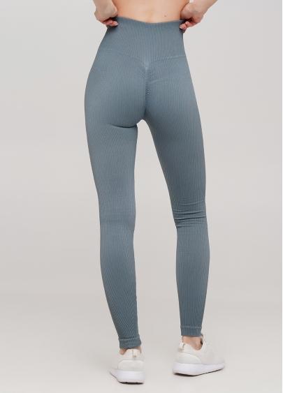 Легінси в рубчик з моделюючим швом ззаду LEGGINGS RIB (блакитний)