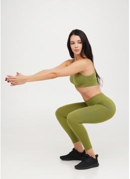 Безшовні легінси для спорту LEGGINGS olive branch (зелений) Giulia